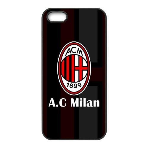 Ac Milan 023 coque iPhone 5 5S cellulaire cas coque de téléphone cas téléphone cellulaire noir couvercle EOKXLLNCD21321