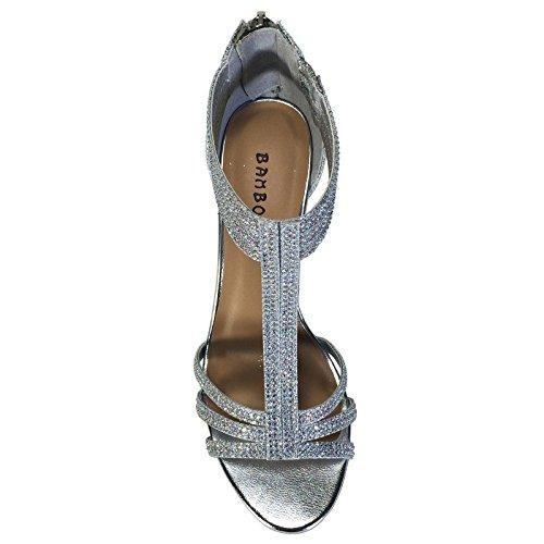 Image of BAMBOO Women's Mid Heel T-Strap Dress Heel Sandal, Silver, 8.0 B (M) US