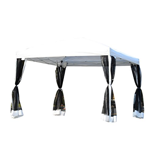 Outsunny 10' x 10' Pop-Up Canopy Party Tent with Four Detachable Mesh Walls - Silver