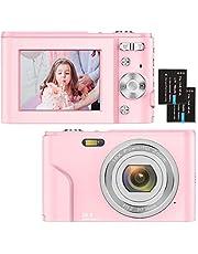 Digitale camera, 1080P HD 36MP compacte minivideocamera 2,4 inch oplaadbare YouTube-vlogcamera met 16x digitale zoom zakcamera voor beginners/senioren/volwassenen/kinderen/studenten (roze)