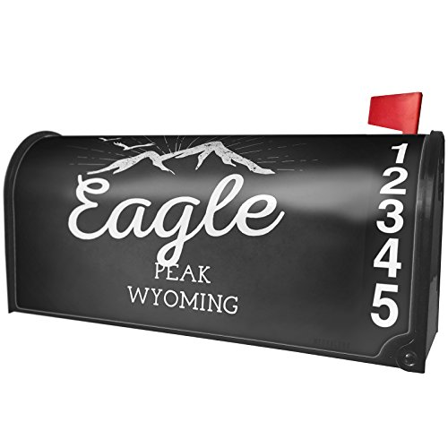 NEONBLOND Mountains Chalkboard Eagle Peak - Wyoming Magnetic Mailbox Cover Custom Numbers