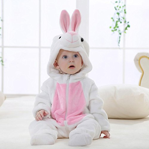 Baby Boys Girls Winter Flannel Hooded Romper White Rabbit Style Outfits Clothes