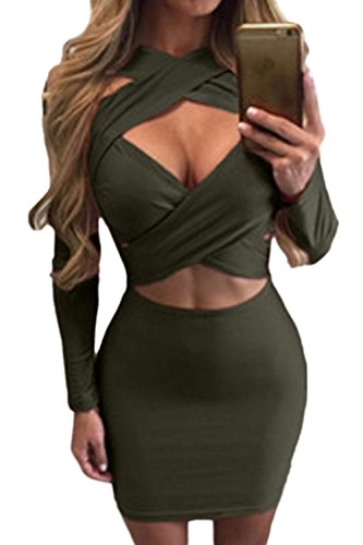 Croce Bodycon Solida Vestito Donne Una Benda Le Scollato Top Molto Fitta Svuotare Green 8TRWF