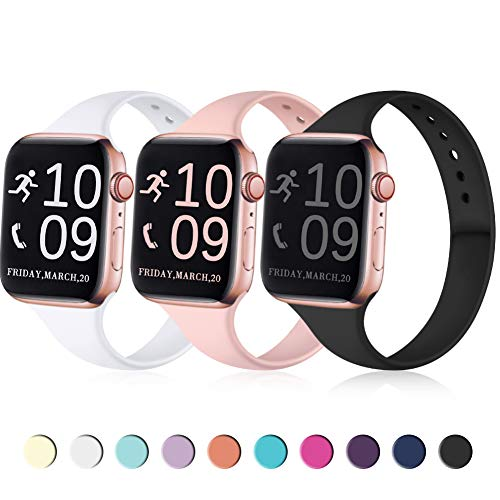 Zekapu Sport Band Compatible for Apple Watch 38mm 40mm, Soft Silicone Narrow Slim Sport Replacement Wristband for iWatch Series 5, Series 4, Series 3, Series 2, Series 1 Women, Black, White, Pink
