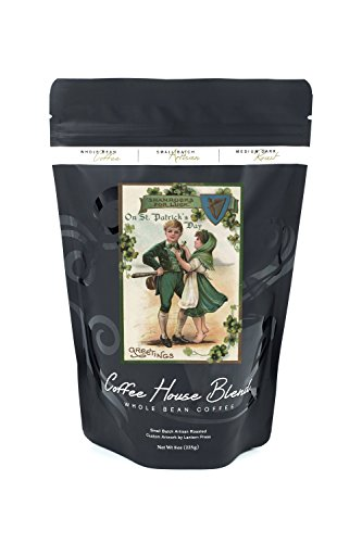 St. Patrick's Day Greeting - Shamrocks for Luck - Vintage Halftone (8oz Whole Bean Small Batch Artisan Coffee - Bold & Strong Medium Dark Roast w/ Artwork)