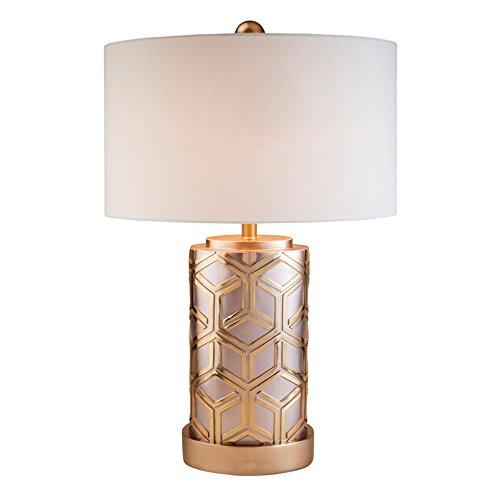 ore international k-4274t bambú diseño tela lámpara de mesa, 73.7cm de alto, oro rosa