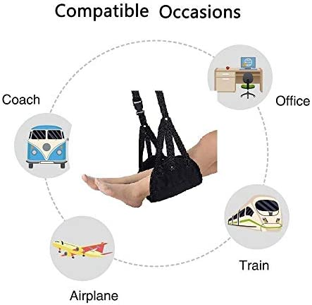 Airplane footrest, Portable Airplane Travel Foot Rest Hammock for Flight Bus Train Office Home Airplane Travel Accessories Legs Hammock with Adjustable Height,Black,Vefanny 41nKjgaDGSL