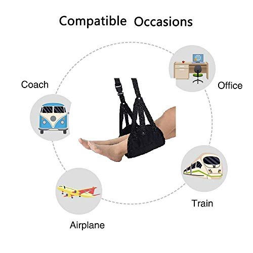 Airplane footrest, Portable Airplane Travel Foot Rest Hammock for Flight Bus Train Office Home Airplane Travel Accessories Legs Hammock with Adjustable Height,Black,Vefanny by Verfanny (Image #3)