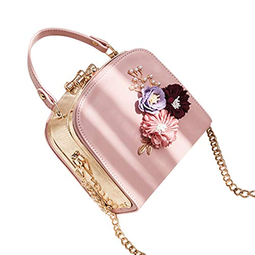 Republe Fiore Decor Donne PU Ragazze borsa monospalla borse doppia cerniera Crossbody Messenger Bags Rosa