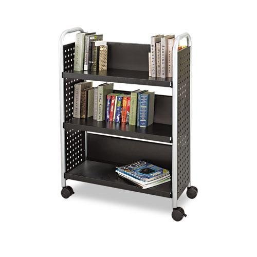 Safco 5336BL Scoot Book Cart, Three-Shelf, 33w x 14-1/4d x 44-1/4h, Black by Safco