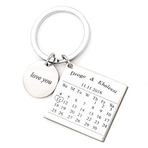Personalised Custom Engraved Calendar Date Engraved Stainless Steel Keyring & Keychain Memorial Wedding Gift (name silver)
