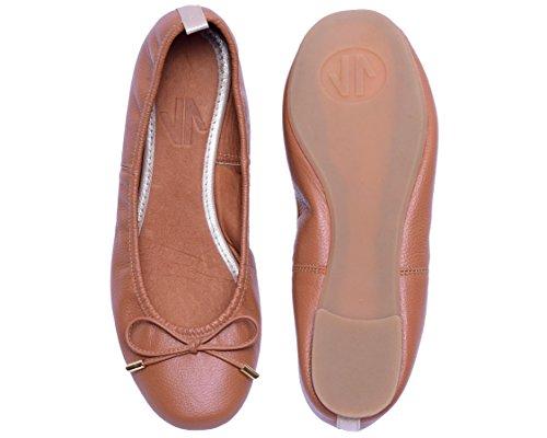 Vidaleather Dagelijks Vrouwen Ballerina Colombiaanse Leer Flats | Zapatillas De Mujer Bruin