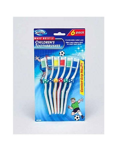 6 Pack children&-039;s wave bristle toothbrushes - Pack of 72