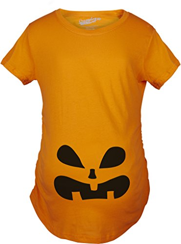 Crazy Dog TShirts - Maternity Surprised Pumpkin Face Funny Halloween Pregnancy Announcement T shirt - Camiseta De Maternidad