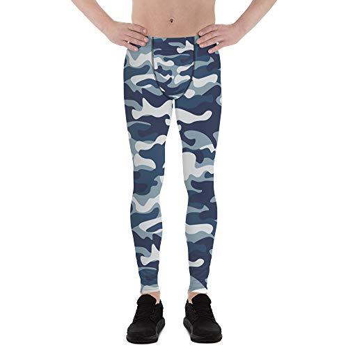 Satori_Stylez Urban Camo Leggings for Men Printed Blue Camouflage Pattern Print Workout Gym Meggings