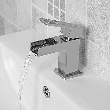 400mm Bathroom Basin Sink Vanity Unit Furniture Waterfall Mixer Tap Free Slotted Waste