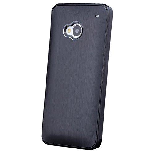 HTC One M7 | iCues Alu Case Negro | [Protector de pantalla incluido] piel CNC metal de aluminio metálico de protección Protección Cubierta Cubierta Funda Carcasa Bolsa Cover Case