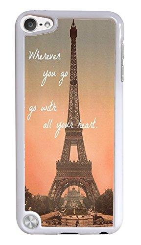 Popular Eiffel Tower Travel White Hardshell Phone Case for iPod Touch 5G