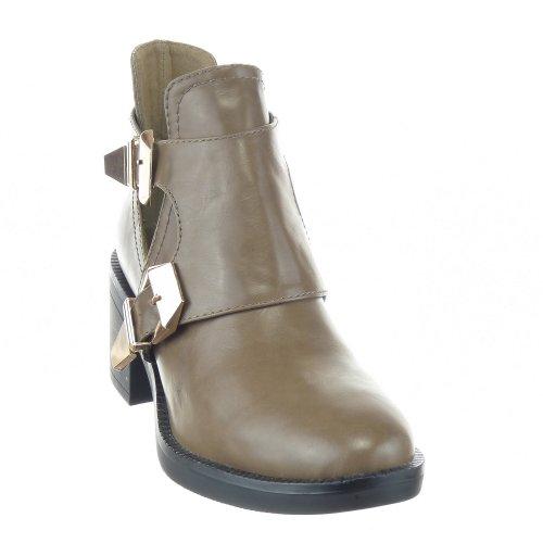 Sopily - Scarpe da Moda Stivaletti - Scarponcini Low Boots Alti donna fibbia Tacco a blocco 6.5 CM - Taupe