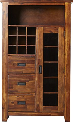 60'' Kitchen Pantry With Rustic and Cabin Style Made of Acacia Wood in Warm Brown Finish With 5 Fixed Shelves and Removabel Wine Rack Complete Your Kitchen NOW! by eCom Fortune