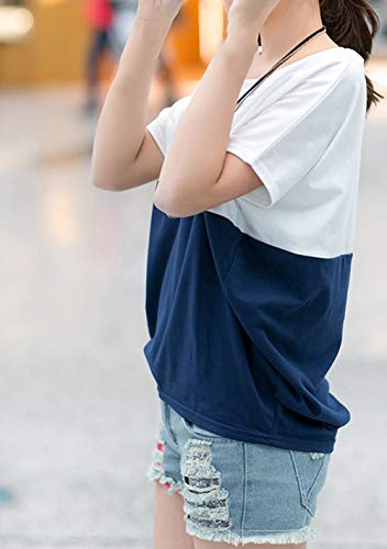 Sexy Shirt Femme Casual Femme Tops Casual Scothen Femmes T Courtes Spring Blouse Color New Triple Casual Chemise Top Blue Manches Loose Summer Tanktops Block Rayures t TX1TdqZ
