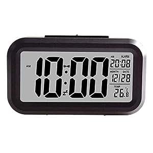 Creative Smart Nightlight Digital Alarm Clock Bedside Desk Table Electronic Clock Battery Operated Mute Luminous Alarm Clock with Adjustable Light for Kids Students