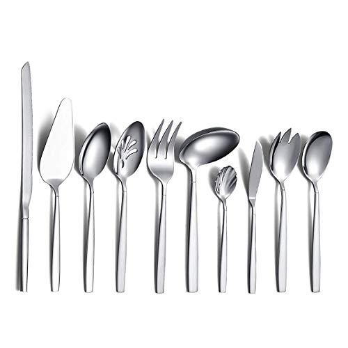Silverware Serving Set 10 Pieces, Berglander Stainless Steel Flatware Serving Set, Silver Serving Utensil, Anti Rust…