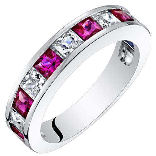 Sterling Silver Princess Cut Created Ruby Half Eternity Wedding Ring Band Size 6 ()