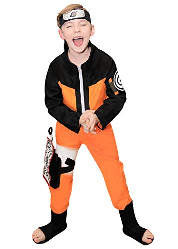 DAZCOS Kids Size Boys Anime Uzumaki Childhood Cosplay Costume (Child L) Orange