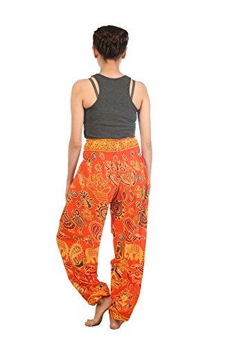 Waist Lofbaz Harem Pantaloni Donna 2 Boho Arancione Elephant Elefante Pilates Yoga Smocked R7UqR