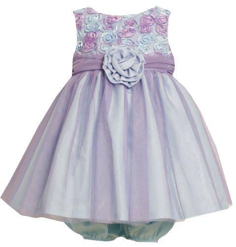 Bonnie Jean Baby/INFANT 12M-24M 2-Piece LAVENDER-PURPLE AQUA-BLUE BONAZ ROSETTE MESH OVERLAY Special Occasion Flower Girl Easter Party Dress