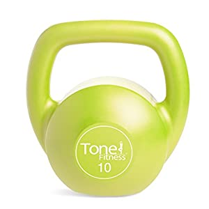 Tone Fitness Vinyl Coated Cement Filled Kettlebell Weights, Single, Various Sizes and Colors