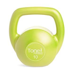 Tone Fitness Vinyl Kettlebell, Lime, 10-Pound