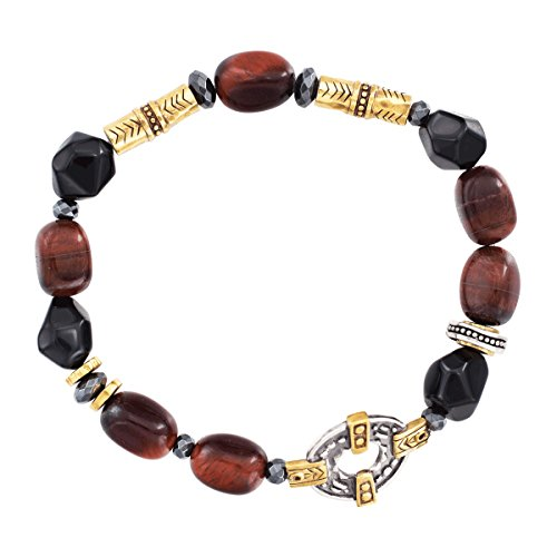 "Silpada 'Fired Up' Natural Agate, Hematite, Tiger's Eye Stretch Bracelet in Sterling Silver & Brass, 6.75"" from Silpada"