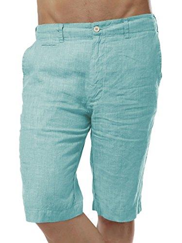 (Chartou Men's Comfy Mid-Rise Light-Weight Linen Beach Shorts Five Pants (Medium, Mint Green))
