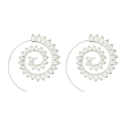 (Bracet Spiral Hoop Earrings Stud Bohemian Vintage Tribal Swirl Style Adjustable Earrings Jewelry (4510(Silver)) )