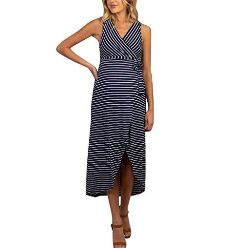 Forthery Women Sleeveless Pregnancy Dress Summer Stripe Long Dress Maternity Dresses for Baby Shower(Navy,L) -