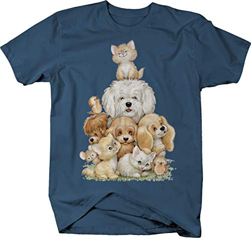 - Cute Dogs Cata Birds Loving Paws Wildlife Tshirt - XL Denim