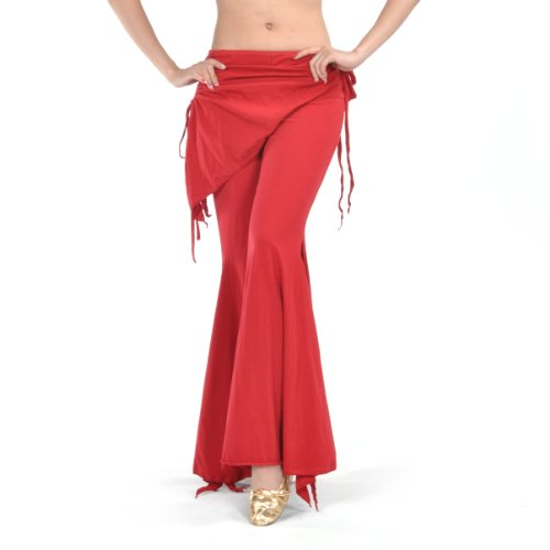 BellyLady Belly Dance Tribal Costume Pants, Yoga Salsa Ballroom Dance Pants RED (Red Belly Dancing Costume)