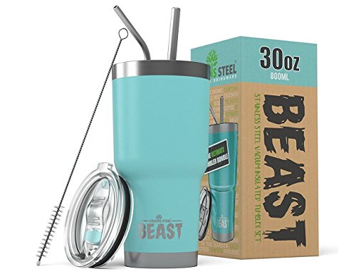 BEAST 30 oz Teal Tumbler Stainless Steel Insulated Coffee Cup with Lid, 2 Straws, Brush & Gift Box by Greens Steel (30oz, Aquamarine Blue) by Greens Steel (Image #10)