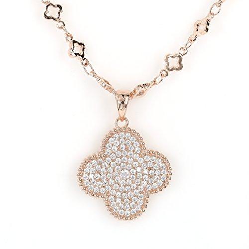 - United Elegance - Distinctive Rose Gold Tone Necklace with Stunning Swarovski Style Crystal Clover Pendant (Trendy Rose)