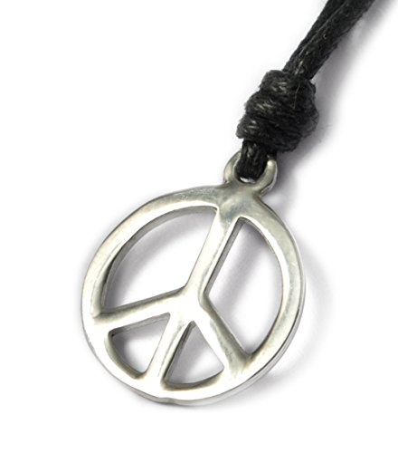 Vietguild Medium Peace Sign Silver Pewter Charm Necklace Pendant Jewelry ()