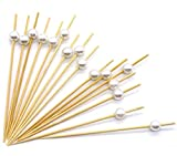 Premium Disposables 4.7'' Bamboo Cocktail Picks With White Pearls Set Of 300 Decorative Bamboo Cocktail Skewers With Shiny Pearl Beads