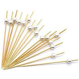 Premium Disposables 4.7″ Bamboo Cocktail Picks With White Pearls Set Of 300 Decorative Bamboo Cocktail Skewers With Shiny Pearl Beads