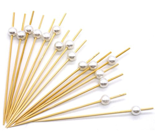 "Premium Disposables 4.7"" Bamboo Cocktail Picks With White Pearls Set Of 300 Decorative Bamboo Cocktail Skewers With Shiny Pearl Beads"