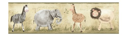 York Wallcoverings York Kids IV YK0106B Safari Animals Border, Light Green/Olive Green - Safari Border Wallpaper