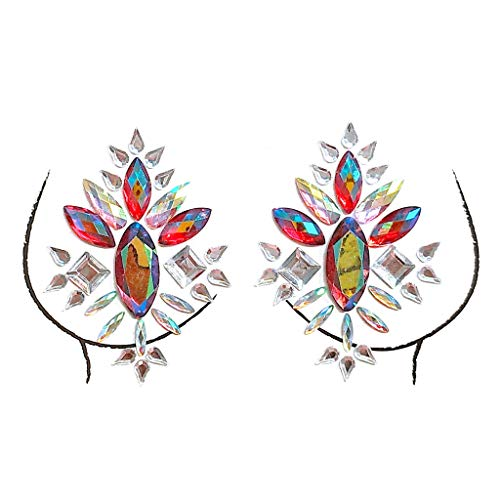 VEZARON Breast Gems Glitter,Body Jewels Rave Festival Rhinestone Face Body Jewelry Stick On Crystal Tattoo Nipple Chest Crystal Body Gem Stones Stickers (Multicolor, P) -