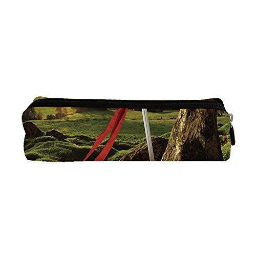 King Utility Pencil Bag,Arthur Camelot Legend Myth in England Ireland Fields Invincible Sword Image for Work,9.0
