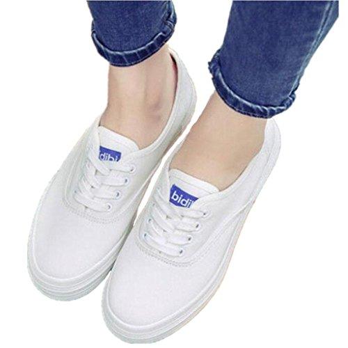 SHFANG Señora Zapatos Blanco Pequeño Zapatos Grueso Fondo Blanco Zapatos de lona Movimiento Ocio Cómodo Estudiantes Diario Negro Blanco White