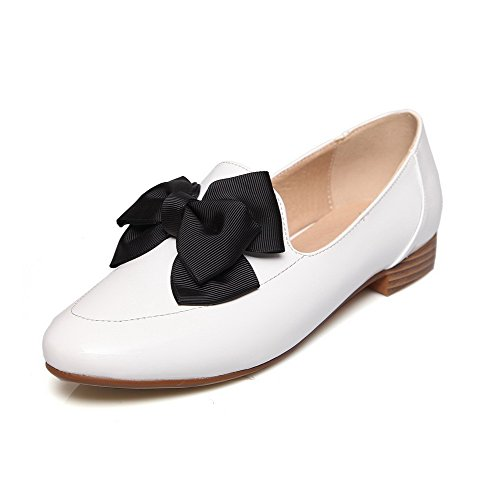 AllhqFashion Damen PU Leder Rein Ziehen auf Rund Zehe Niedriger Absatz Pumps Schuhe Weiß